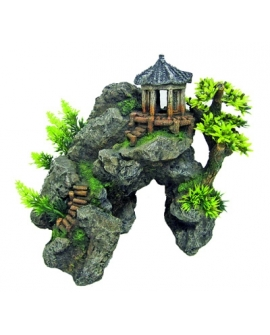 JAPAN TEMPLE WITH ROCKS 24x20x23cm