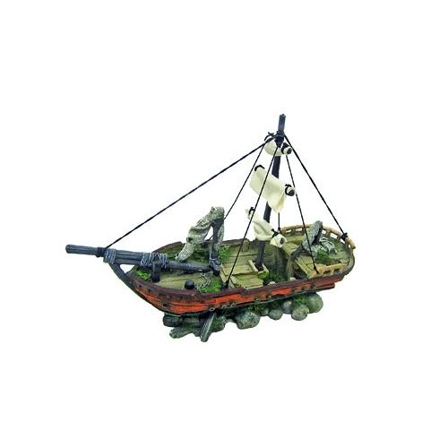 BATEAU SAILING SHIP WITH ROCKS 39,5x13x28cm